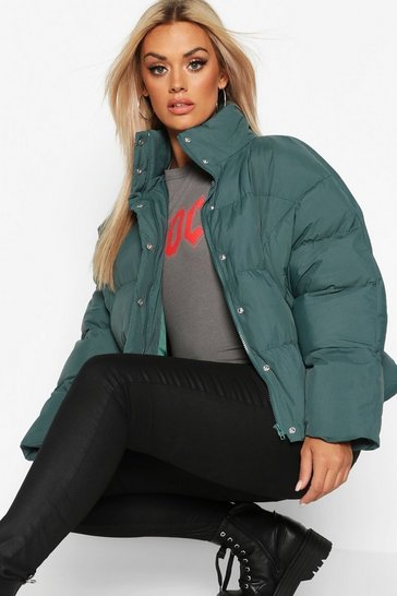 Womens Green Plus Funnel Neck Cropped Puffer Jacket