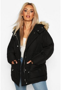 Womens Black Plus Faux Fur Hooded Drawstring Puffer Parka Coat
