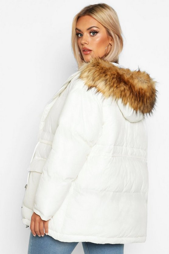 Plus Faux Fur Hooded Drawstring Puffer Parker Coat