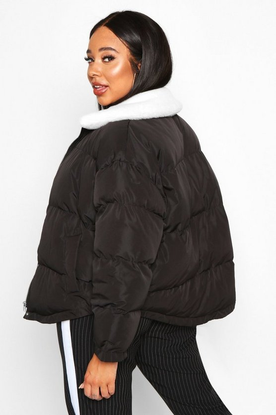 Plus Faux Fur Collar Puffer Jacket