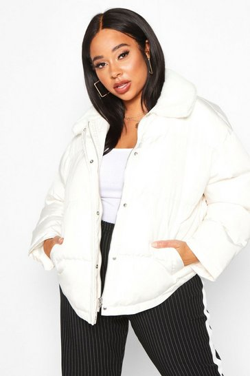 Womens Frosted ivory Plus Faux Fur Collar Puffer Jacket