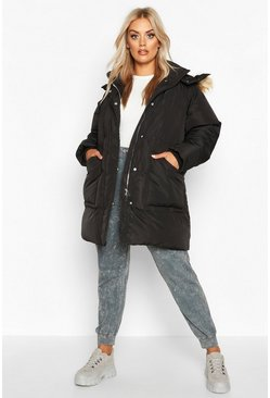 Womens Black Plus Faux Fur Longline Puffer Coat
