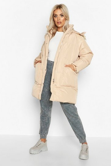 Womens Caramel Plus Faux Fur Longline Puffer Coat
