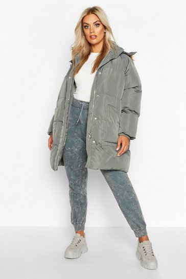 Womens Grey Plus Faux Fur Longline Puffer Coat