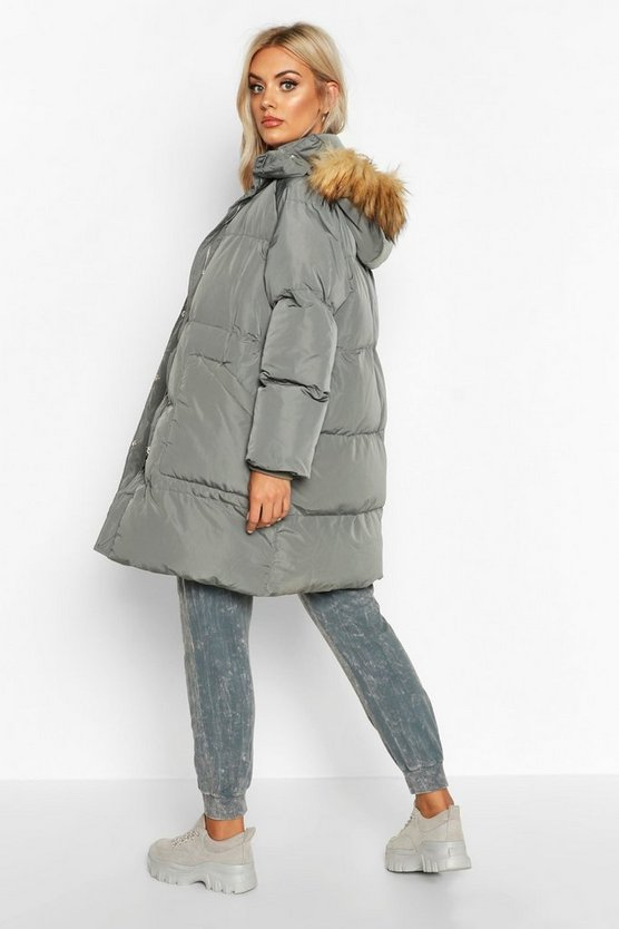 Plus Faux Fur Longline Puffer Coat