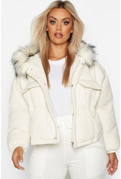 White Plus Faux Fur Hooded Pocket Parka Jacket
