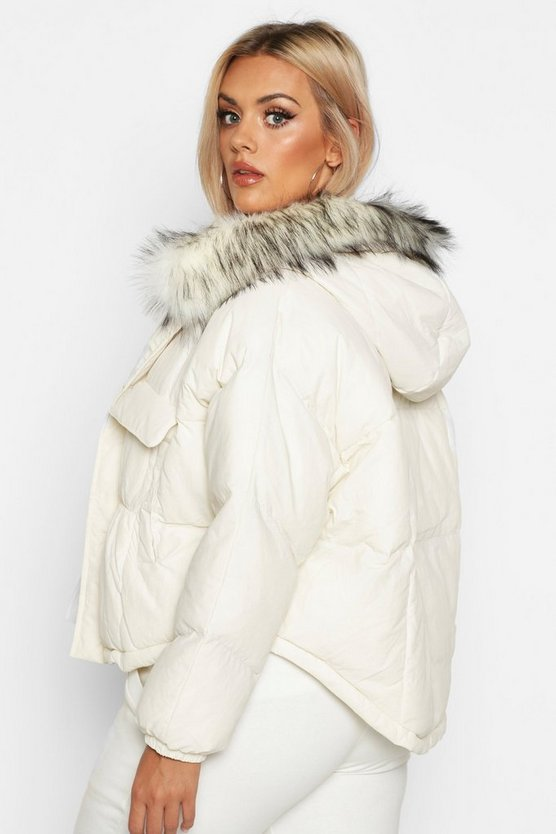 Plus Faux Fur Hooded Pocket Parker Jacket