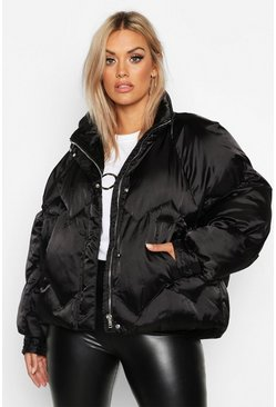 Black Plus Satin Padded Bomber Jacket