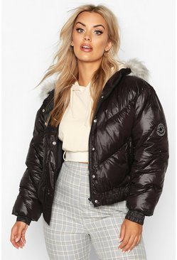 Womens Black Plus Badge Faux Fur Trim Hooded Parka Puffer
