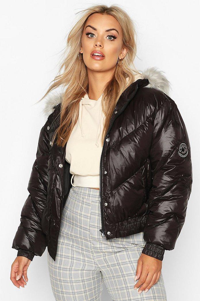 fantastic savings detailed look new authentic Plus Badge Faux Fur Trim Hooded Parka Puffer | Boohoo
