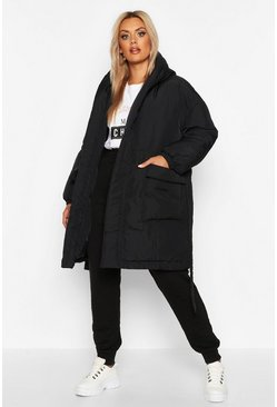 Womens Black Plus Shawl Collar Belted Mid Length Puffer Coat