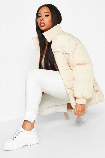 Womens Cream Plus Belted Funnel Neck Utility Puffer Jacket