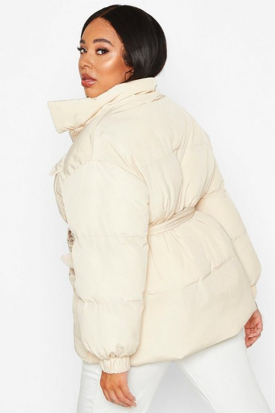 Plus Belted Funnel Neck Utility Puffer Jacket
