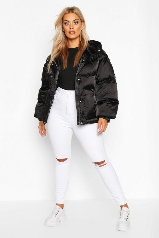 Black Plus Satin Look Belted Funnel Neck Puffer Jacket