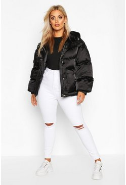 Womens Black Plus Satin Look Belted Funnel Neck Puffer Jacket