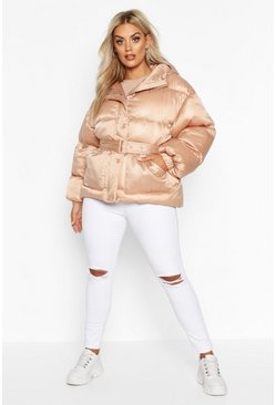 Womens Nude Plus Satin Look Belted Funnel Neck Puffer Jacket