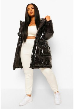 Black Plus Faux Fur Hooded Padded Parka Puffer