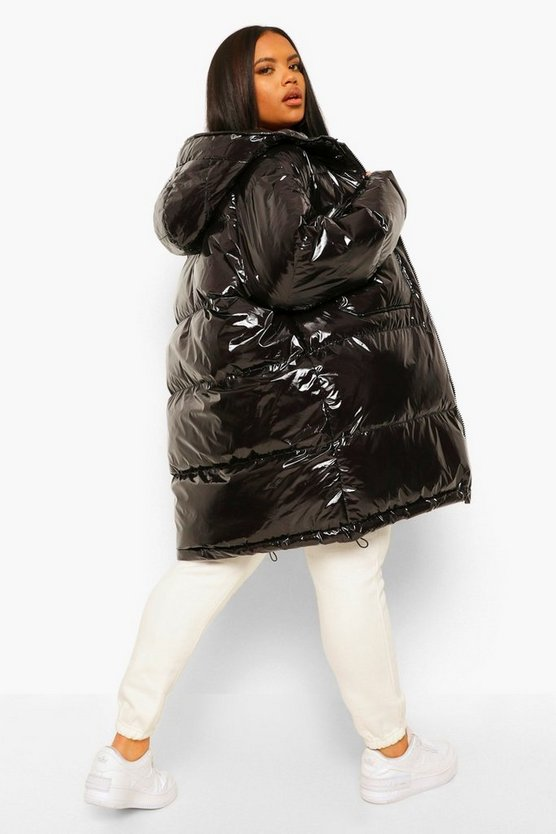 Plus Faux Fur Hooded Hi-Shine Padded Parka