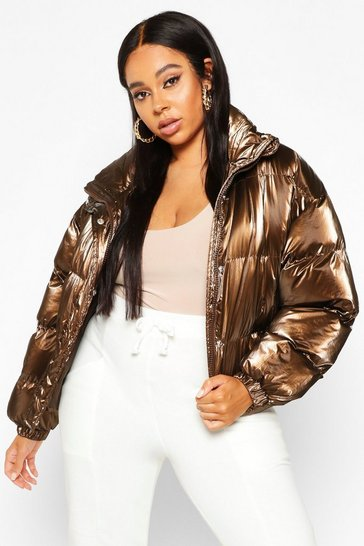 Chocolate Plus Belted Hi-Shine Puffer Jacket