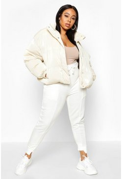 Womens Ivory Plus Belted Hi-Shine Puffer Jacket