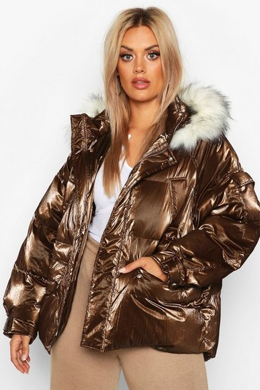 Chocolate Plus Faux Fur Hooded Puffer Parka
