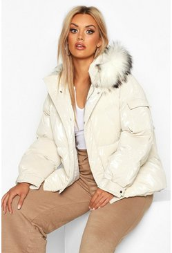 Womens Ivory Plus Faux Fur Hooded Puffer Parka