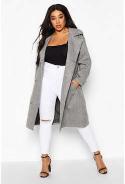 Womens Grey Plus Wool Look Prince Of Wales Check Trench Coat