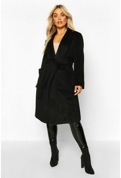 Black Plus Brushed Wool Look Belted Duster Coat