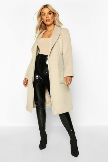 Ivory Plus Brushed Wool Look Belted Duster Coat
