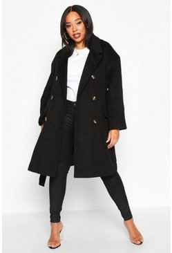 Black Plus Wool Look Belted Button Detail Trench Coat