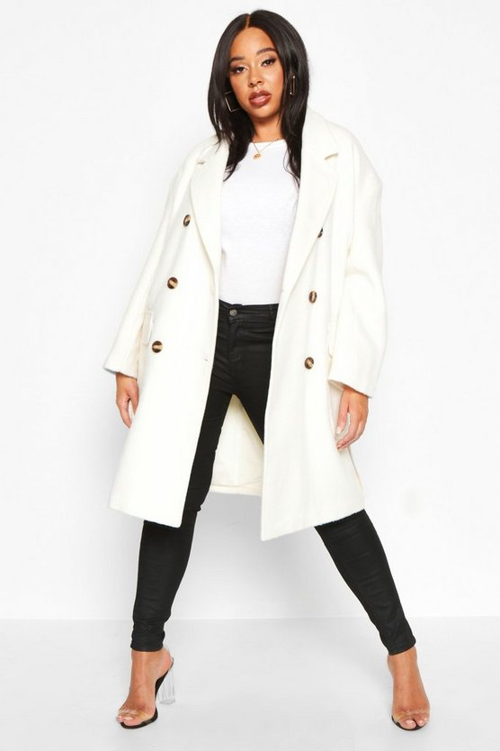 Ivory Plus Wool Look Belted Button Detail Trench Coat