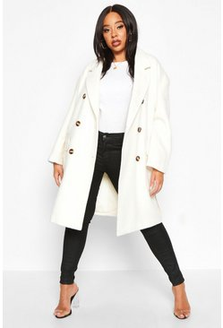 Womens Ivory Plus Wool Look Belted Button Detail Trench Coat