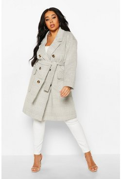 Womens Grey Plus Tonal Check Belted Button Trench Coat