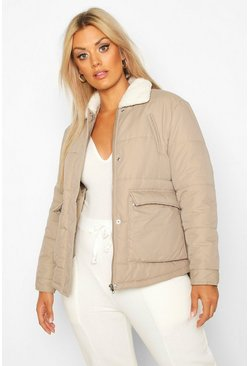 Womens Khaki Plus Teddy Collar Pocket Detail Puffer Jacket