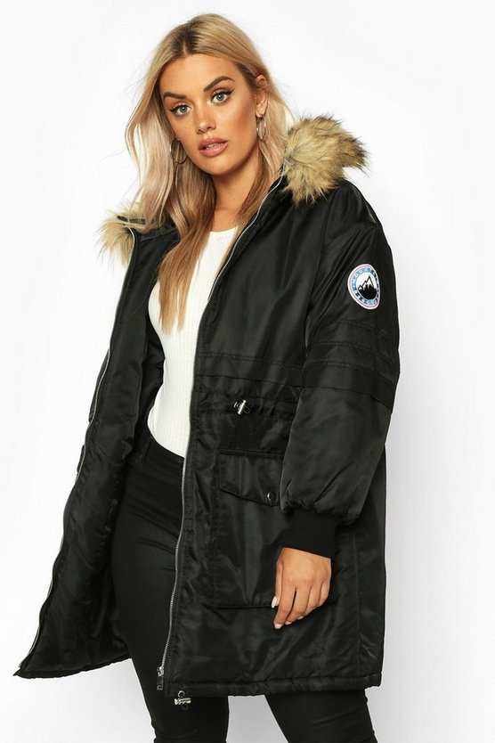 Black Plus Faux Fur Hooded Parka