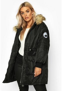 Womens Black Plus Faux Fur Hooded Parka