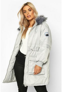Womens Grey Plus Faux Fur Hooded Parka