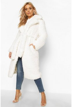Cream Plus Teddy Faux Fur Belted Longline Coat