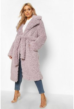 Womens Lilac Plus Teddy Faux Fur Belted Longline Coat