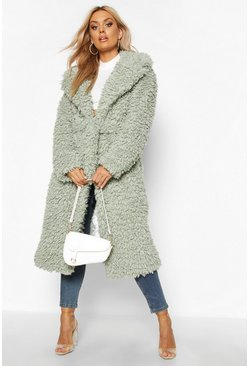 Womens Sage Plus Teddy Faux Fur Belted Longline Coat