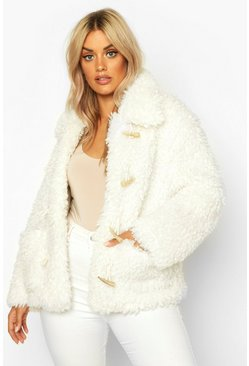 Womens Ivory Plus Teddy Faux Fur Mock Horn Toggle Coat