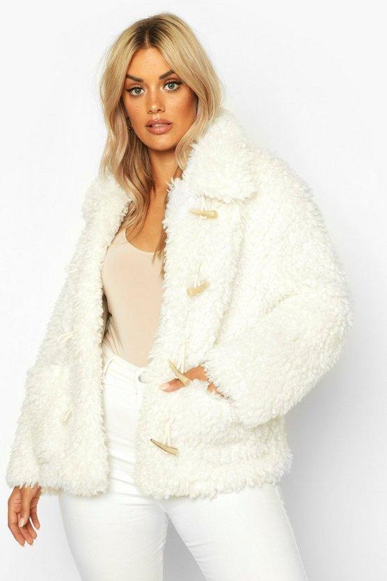Plus Teddy Faux Fur Mock Horn Toggle Coat