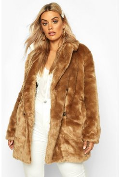 Womens Camel Plus Luxe Double Breasted Faux Fur Coat
