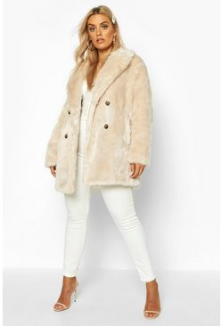 Oatmeal Plus Luxe Double Breasted Faux Fur Coat