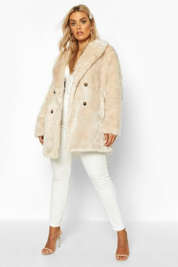 Womens Oatmeal Plus Luxe Double Breasted Faux Fur Coat