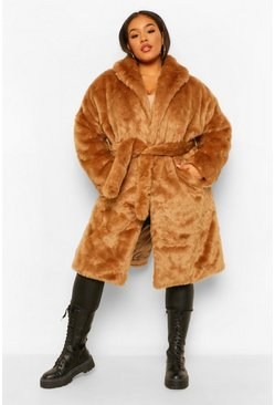 Camel Plus Luxe Shawl Collar Belted Faux Fur Coat