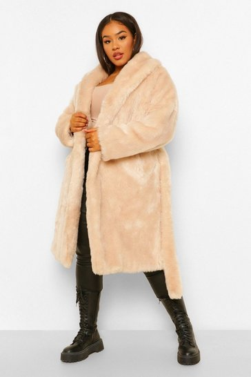 Womens Oatmeal Plus Luxe Shawl Collar Belted Faux Fur Coat