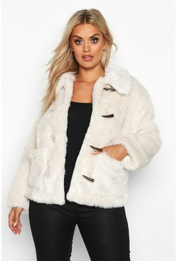 Womens Cream Plus Faux Fur Toggle Detail Pea Coat