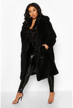 Womens Black Plus Teddy Faux Fur Button Detail Coat