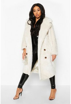 Cream Plus Teddy Faux Fur Button Detail Coat